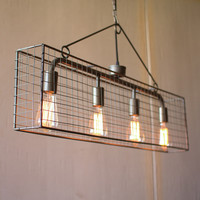 4 Bulb Wire Mesh Caged Pendant
