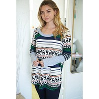 Let's Snuggle Green Holiday Print Knit Sweater