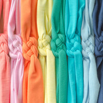 Choose Any 3 or 4 Colors - Cotton Knit Sailor Knot Headbands (THICK STYLE) - For Baby, Toddler, Child - Many Colors to Choose From!