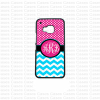 Monogram HTC M9 Case, Polka Dots HTC M9 Cover, Cute monogram HTC M9 Case, Customized Personalized