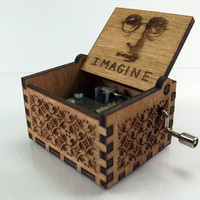 Engraved  wooden music box (Imagine - john lennon)