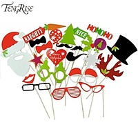 27pcs Photo Booth Props Christmas Decorations Xmas Funny Hat Tree Gifts PhotoBooth Supplies For Home