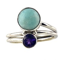 Amazonite & Amethyst Sterling Silver Two Stone Ring