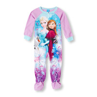 Long Sleeve Frozen Anna, Elsa And Olaf Blanket Sleeper   The Children's Place
