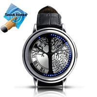 Stainless Steel Material Elegant Design Blue Hybrid Touch Screen LED Watch , With 60 Blue LED Lights, High Class Design, Leather Band, Support Touchscreen, Power Saving