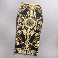 Versace New fashion human head print retro skirt women