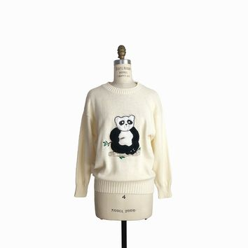 Vintage 70s Fuzzy Panda Sweater in Ivory / Funny Ugly Sweater / Panda Bear - women's small