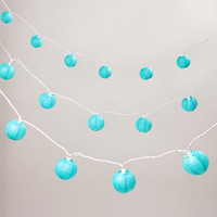 Turquoise Paper String Lights, Set of 10