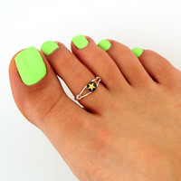 toe ring sterling silver toe ring star design adjustable toe ring (T-64) Also knuckle ring