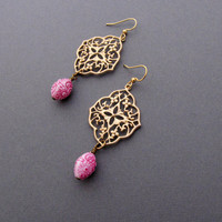Gold Filigree Earrings with Pink Flower Beads