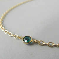 Gold Eye Glass Chain with Emerald Green Crystals