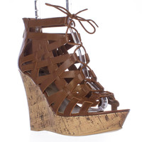GUESS Derrby Wedge Platform Strappy Lace Up Sandals - Brown