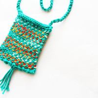Green, Knit necklace, knit pouch, crystal pouch, medicine bag, fetish bag