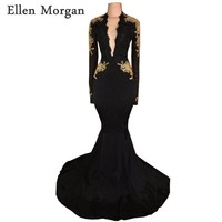 Long Sleeves Backless Mermaid Prom Dresses 2018 for African Black Girls Deep V Neck Lace Beaded Vestido De Festa for Party Gowns