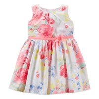 Carter's® 2-Piece Floral Sleeveless Sateen Dress and Diaper Cover Set in Pink/White
