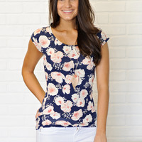 * Laia Floral Fitted Tee - Navy