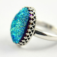 Cassiopeia Seas Druzy Ring - Sterling Silver Bezel Set - Blue-Green Oval Drusy Quartz Stone - April Birthstone