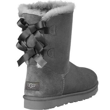 UGG Bow Leather Shoes Boots Winter In Tube Boots Shoes-4