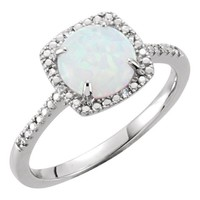 Sterling Silver Created Opal & .01 CTW Diamond Halo-Style Ring