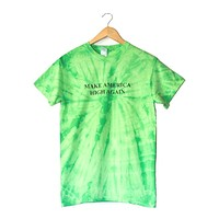 Make America High Again Lime Green Tie-Dye Graphic Unisex Tee