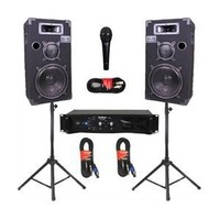 "Podium Pro 10"" Speakers Monitor Pair, Stands, Amp, Cables and Mic Set for PA DJ Home or Karaoke 1000CSET"
