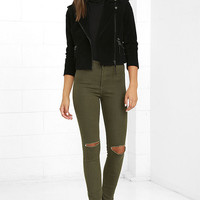 Practice Makes Perfect Olive Green High-Waisted Skinny Jeans