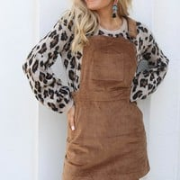On The Go Walnut Corduroy Overall Dress