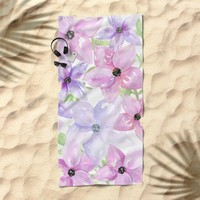 clematis vines Beach Towel by Sylvia Cook Photography