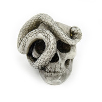 Macabre Gadgets Skull and Snake Ring White