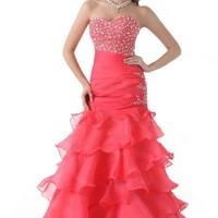 FairOnly Women's Column Style Organza Strapless Gown