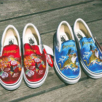 Rollicking x VANS Blue and red fashion casual shoes