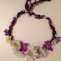 cute purple and white flower crown