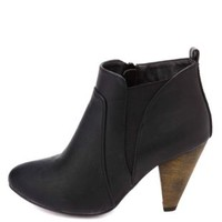 Elasticized Cone Heel Ankle Boots by Charlotte Russe - Black