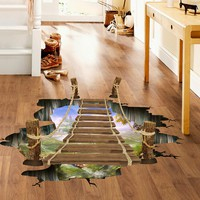 3D Floor Stickers for kids rooms Bridge Floor Wall Sticker Removable Mural Decals Vinyl Art Living Room Decors U61209