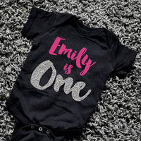 First Birthday Outfit Girl First Birthday Shirt Black Hot Pink Silver Glitter PERSONALIZED One Year Old Girl Birthday Outfit 091