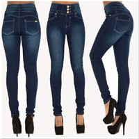 High Waist Button Elastic Skinny Plus Size Sexy Jeans