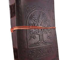 Steampunk Tree of Life Emboss Leather Journal Diary Notebook Sketchbook Gift for him and her