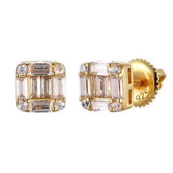 925 Silver Icy Baguette Square Hip Hop Screw Back Earrings