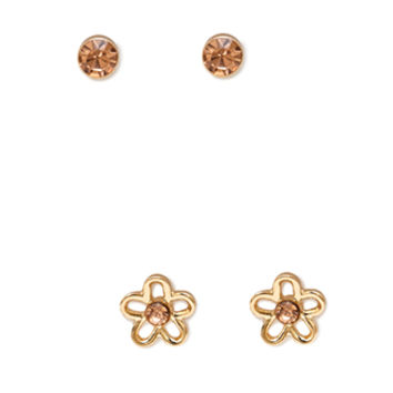 FOREVER 21 Cutout Flower Stud Set Gold/Peach One