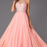 Floor Length Gown with Illusion Bodice by Rachel Allan