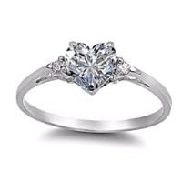Cassie: 0.81ct Heart-cut Ice on Fire CZ Promise Friendship Engagement Ring 925 Silver, 3135 sz 7.0
