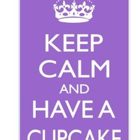 Rikki KnightTM Keep Calm and have a Cupcake - Violet Design iPhone 4 & 4s Case Cover (White Rubber with bumper protection) for Apple iPhone 4 & 4s