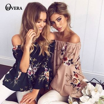 OHVERA Floral Print Off Shoulder Chiffon top Women Tops Halter Cool Long Sleeve Female tops Shirt Sexy Loose White Blusas