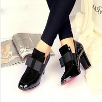 New 100%  Red Bottom sole high heels pumps square toe genuine leather shoes women ladies black Sexy chaussure femme17620453