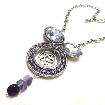 Pentagram and Amethyst Necklace, Rhinestone Necklace, Pentacle Necklace, Wiccan Necklace, Pentagram, Statement Necklace,Protection Necklace