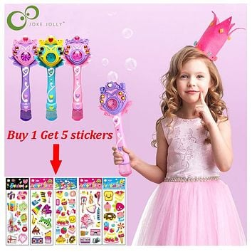 Kids Magic Wand Bubble Gun Blower Toy Electric Magic Automatic Soap Bubble Machine Light Music Outdoor Toy for Girl ZXH