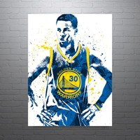 Stephen Curry Golden State Warriors Front Blue Jersey Poster