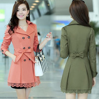 Semi open collar thin solid double breasted female commuter in the long sleeved Khaki Black Slim Korean army green = 1956230532