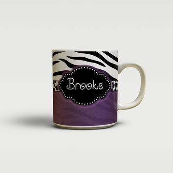 Zebra stripe and cheetah print - Personalized coffee mug or cup