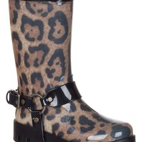 Dolce & Gabbana Women's Beige Rubber Leopard Harness Rain Boots Shoes